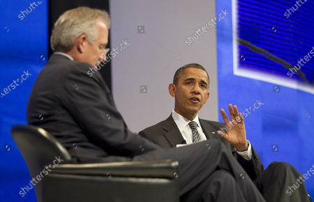United States President Barack Obama with the W. James McNerney, Jr. ,CEO of Boeing at the Asia-Pacific Economic Cooperation (APEC) CEO Summit at the Sheraton Waikiki Hotel  in Honolulu, Hawaii on Saturday, November 12, 2011.