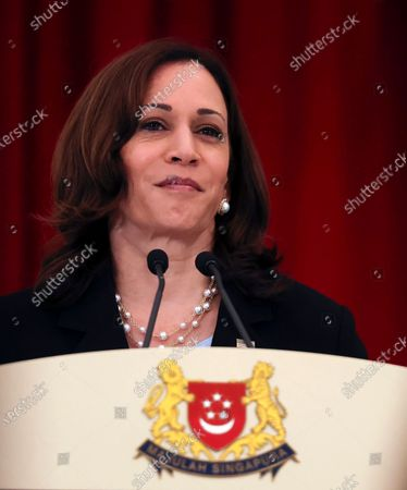 Stock Picture of Vice President Kamala Harris attends a joint news conference with Singapore's Prime Minister Lee Hsien Loong in Singapore