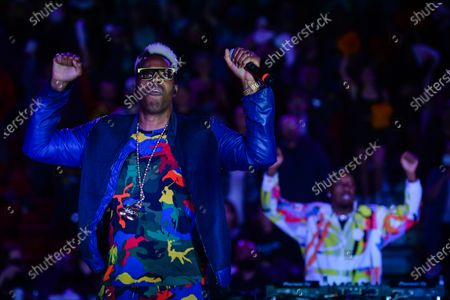 Kardinal Offishall, a Canadian rapper, performes during the halftime of the Canadian Elite Basketball League final between Edmonton Stingers vs Niagara River Lions, at the Edmonton Expo Center.On Sunday, 22 August 2021, in Expo Centre, Edmonton, Alberta, Canada.