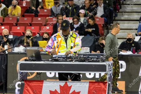 DJ 4KORNERS performs during the half time show at Canadian Elite Basketball Season Final between Edmonton Stingers and Niagara River Lions at the Edmonton Expo Center.