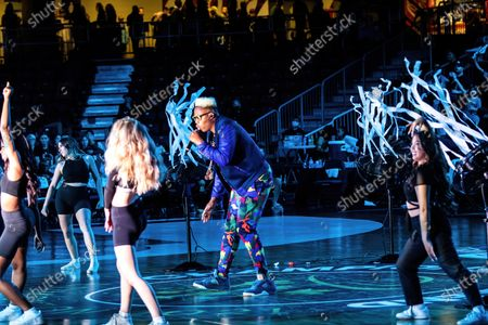 Canadian rapper Jason Drew Harrow, better known by his stage name Kardinal Offishall performs during the half time show at Canadian Elite Basketball Season Final between Edmonton Stingers and Niagara River Lions at the Edmonton Expo Center.