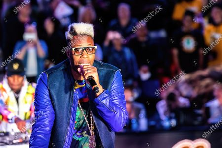 Stock Photo of Canadian rapper Jason Drew Harrow, better known by his stage name Kardinal Offishall performs during the half time show at Canadian Elite Basketball Season Final between Edmonton Stingers and Niagara River Lions at the Edmonton Expo Center.