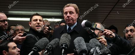Football Manager Harry Redknapp talks to the media outside Southwark Crown court after being found not guilty in his tax evasion trial on Wednesday February 08 2011.Mr.Redknapp tipped to be the new England manager and his former business manager Milan Mandaric could have faced jail if found guilty.