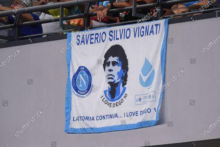 Diego Maradona Flag during the Serie A match between SSC Napoli and Venezia FC at Stadio Diego Armando Maradona Naples Italy on 22 August 2021.