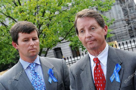 Chris Jones (L) and Keith Jones (R), brother and father of Gordon Jones respectively, stand outside the West Wing of the White House  in Washington on June 10, 2010. Family members of those killed on the Deepwater Horizon oil rig attended a meeting with President Barack Obama.