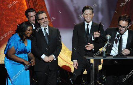 """Actress Octavia Spencer, producers Tate Taylor, Michael Barnathan, Brunson Green and Chris Columbus accept the award for Outstanding Motion Picture for """"The Help"""" onstage during the 43rd NAACP Image Awards,held at the Shrine Auditorium in Los Angeles on February 17, 2012."""