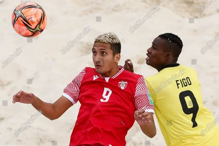 Heirauarii Salem (L) of Tahiti and Figo of Mozambique in action during the FIFA Beach Soccer World Cup Russia 2021 Group D match between Tahiti and Mozambique on August 23, 2021 at Luzhniki Beach Soccer Stadium in Moscow, Russia.