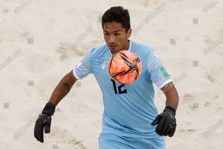 Beo Revel of Tahiti in action during the FIFA Beach Soccer World Cup Russia 2021 Group D match between Tahiti and Mozambique on August 23, 2021 at Luzhniki Beach Soccer Stadium in Moscow, Russia.