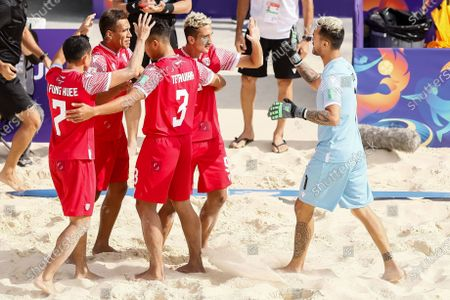 Heirauarii Salem (C) of Tahiti celebrates his goal with teammates during the FIFA Beach Soccer World Cup Russia 2021 Group D match between Tahiti and Mozambique on August 23, 2021 at Luzhniki Beach Soccer Stadium in Moscow, Russia.
