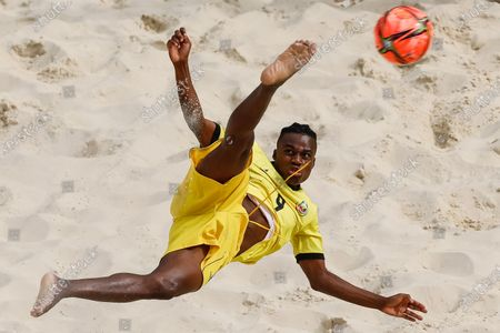 Figo of Mozambique in action during the FIFA Beach Soccer World Cup Russia 2021 Group D match between Tahiti and Mozambique on August 23, 2021 at Luzhniki Beach Soccer Stadium in Moscow, Russia.