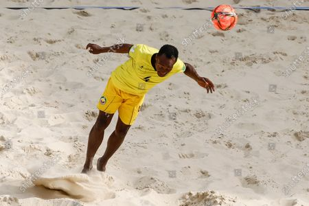 Neto of Mozambique heads the ball during the FIFA Beach Soccer World Cup Russia 2021 Group D match between Tahiti and Mozambique on August 23, 2021 at Luzhniki Beach Soccer Stadium in Moscow, Russia.