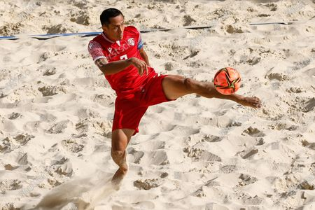 Raimana Li Fung Kuee of Tahiti in action during the FIFA Beach Soccer World Cup Russia 2021 Group D match between Tahiti and Mozambique on August 23, 2021 at Luzhniki Beach Soccer Stadium in Moscow, Russia.