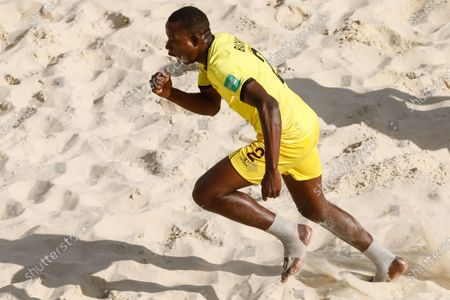 Bachir of Mozambique celebrates his goal during the FIFA Beach Soccer World Cup Russia 2021 Group D match between Tahiti and Mozambique on August 23, 2021 at Luzhniki Beach Soccer Stadium in Moscow, Russia.