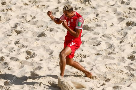 Heirauarii Salem of Tahiti celebrates his goal during the FIFA Beach Soccer World Cup Russia 2021 Group D match between Tahiti and Mozambique on August 23, 2021 at Luzhniki Beach Soccer Stadium in Moscow, Russia.