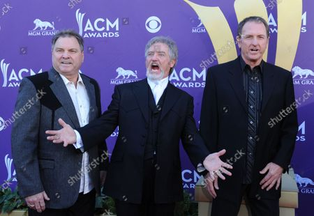 (L-R) Musicians Steve Gatlin, Larry Gatlin, and Rudy Gatlin of the Gatlin Brothers arrive at the 47th annual Academy of Country Music Awards at the MGM Hotel in Las Vegas, Nevada on April 1, 2012.