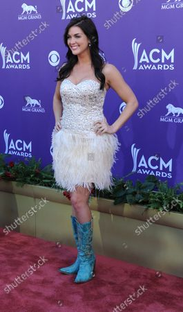 Model Paige Duke arrives at the 47th annual Academy of Country Music Awards at the MGM Hotel in Las Vegas, Nevada on April 1, 2012.