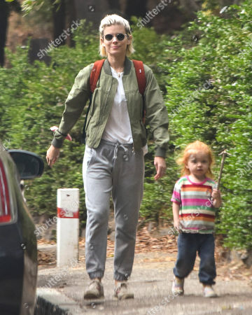 Kate Mara is seen going for a walk with her daughter.