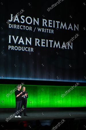 Stock Image of Jason Reitman, Director/ Writer of 'Ghostbusters: Afterlife' and Ivan Reitman, Producer of 'Ghostbusters: Afterlife'