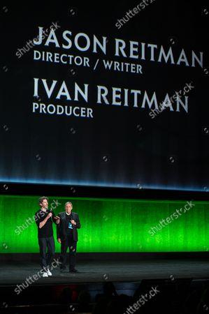 Stock Photo of Jason Reitman, Director/ Writer of 'Ghostbusters: Afterlife' and Ivan Reitman, Producer of 'Ghostbusters: Afterlife'