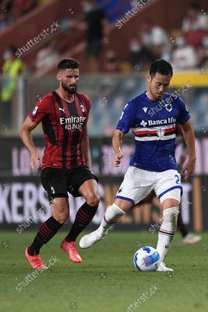 Maya Yoshida (Sampdoria) Olivier Giroud (Milan)