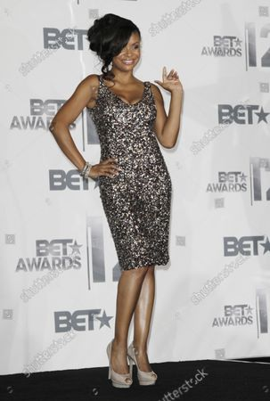 Actress Joyful Drake appears backstage during the BET Awards 12 at the Shrine Auditorium in Los Angeles on July 1, 2012.