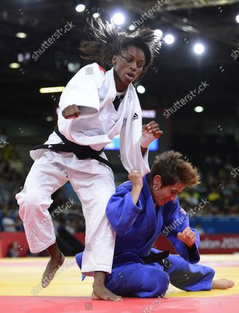 Women's Judo 52kg Bronze Medal match between Priscilla Gneto of France, left, and Ilse Heylen of Belgium, right, at the London 2012 Summer Olympic Games on July 29, 2012 in London. Priscilla Gneto won the match.