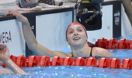 Caitlin McClatchey of Great Britain looks up at the crowd after her heat in the Women's 200M Freestyle at the London 2012 Summer Olympics on July 30, 2012 in Stratford, London. McClatchey's time of 1:58.03 qualified her for the final.