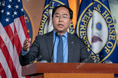 Rep. Andy Kim (D-NJ), speaks during a news conference following a classified intelligence briefing by the Secretary of Defense and other Biden officials about the situation in Afghanistan at the U.S. Capitol in Washington, DC on Tuesday, August 24, 2021.