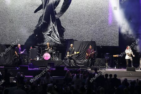 Stock Picture of Shirley Manson, Duke Erikson, Steve Marker and Butch Vig with Garbage Performs at Ameris Bank Amphitheatre, in Alpharetta