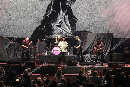 Stock Photo of Shirley Manson, Duke Erikson, Steve Marker and Butch Vig with Garbage Performs at Ameris Bank Amphitheatre, in Alpharetta