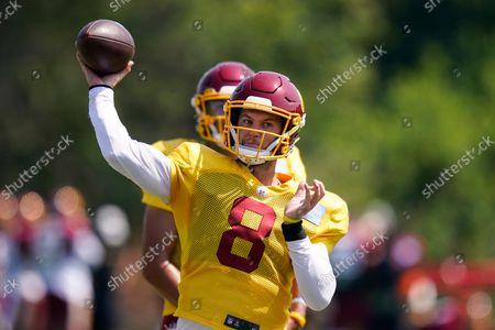 Washington Football Team quarterback Kyle Allen (8) throws the ball during practice at the team's NFL football training facility, in Ashburn, Va