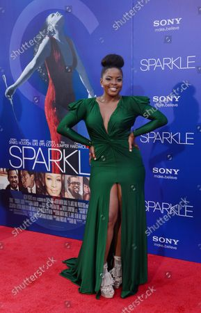 """Stock Image of Bre'ly Evans, a cast member in the motion picture drama """"Sparkle"""", attends the premiere of the film at Grauman's Chinese Theatre in the Hollywood section of Los Angeles on August 16, 2012."""