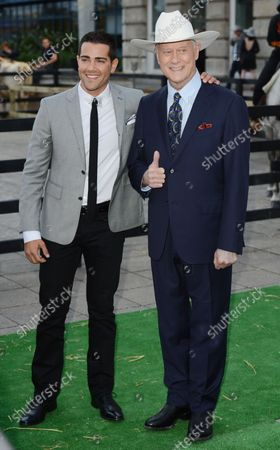"""Stock Photo of American actors Jesse Metcalf and Larry Hagman attend the launch of Channel 5's """"Dallas"""" at Old Billingsgate in London on August 21, 2012."""