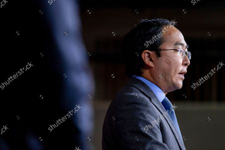 Rep. Andy Kim, D-N.J., speaks to members of the media during a news conference on Capitol Hill in Washington, on