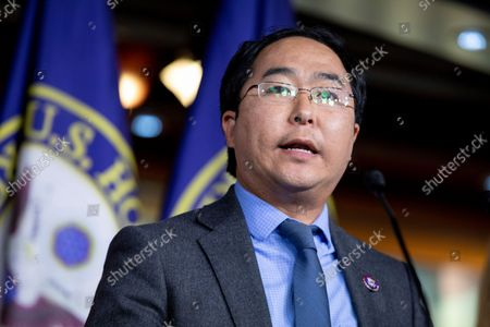 Stock Image of Rep. Andy Kim, D-N.J., speaks to members of the media during a news conference on Capitol Hill in Washington, on