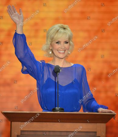 Stock Photo of Janine Turner, radio personality and actress, speaks at the 2012 Republican National Convention at the Tampa Bay Times Forum in Tampa on August 28, 2012.