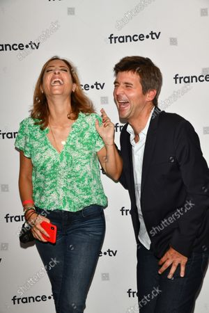 Lea Salame and Thomas Sotto During the Press Conference 2021-2022 France Television at Pavillon Gabriel Paris.