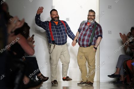 Jeffrey Costello and Robert Tagliapietra step out on the runway after the Costello Tagliapietra fashion show at the Spring 2013 collections of Mercedes-Benz Fashion Week at Milk Studios In New York City on September 6, 2012.