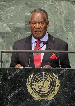 His Excellency Michael Chilufya Sata, President of the Republic of Zambia addresses the United Nations at the 67th United Nations General Assembly in the UN building in New York City on September 26, 2012.
