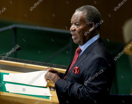 Stock Image of Michael Chilufya Sata, president Zambia, addresses the 67th session of the General Assembly at the United Nations on September 26, 2012 in New York City.