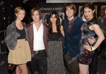"""Stock Photo of Cast members Caitlin Gerard (L-R), Andrew James Allen, Melanie Papalia, Shane Dawson and Jana Winternitz attend the premiere of the horror film """"Smiley"""" at the AMC Universal Citywalk Stadium 19 in Los Angeles on October 9, 2012."""