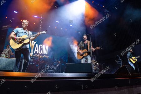 Stock Photo of Trevor Rosen, from left, Matthew Ramsey and Brad Tursi of Old Dominion perform at the 2021 ACM Party for a Cause at Ascend Amphitheater, in Nashville, TN
