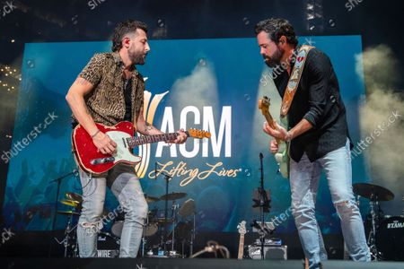 Matthew Ramsey, left, and Brad Tursi of Old Dominion perform at the 2021 ACM Party for a Cause at Ascend Amphitheater, in Nashville, TN