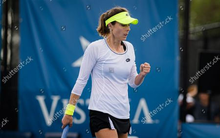 Alize Cornet of France in action during the final of the 2021 WTA Chicago Womens Open WTA 250 tennis tournament