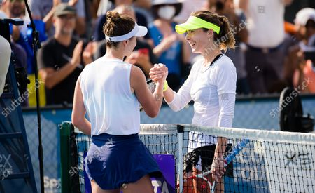 Elina Svitolina of the Ukraine & Alize Cornet of France after the final of the 2021 WTA Chicago Womens Open WTA 250 tennis tournament
