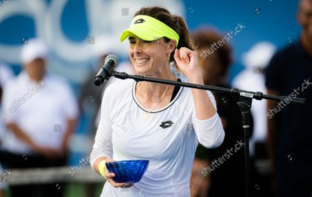 Alize Cornet of France during the trophy ceremony after the final of the 2021 WTA Chicago Womens Open WTA 250 tennis tournament