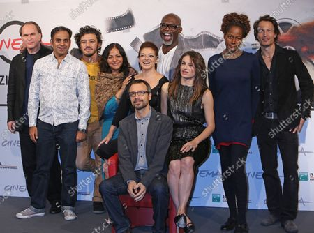 """The cast of the film """"Italian Movies"""", including director Matteo Pellegrini and actors Aleksei Guskov, Anita Kravos, Neil D'Souza and Harvey Virdi, arrives at a photo call for the film during the 7th annual Rome International Film Festival in Rome on November 12, 2012."""