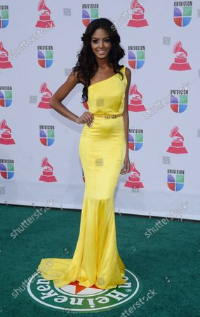 Miss Dominican Republic Chantel Martinez arrives for the 2012 Latin Grammy Awards at the Mandalay Bay Events Center in Las Vegas, Nevada on November 15, 2012.