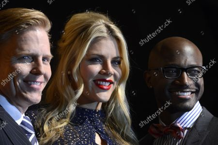 SAG-AFTRA Executive Vice President Ned Vaughn (L-R), Busy Philipps and Taye Diggs pose for photographers after announcing the 19th annual Screen Actors Guild Awards nominations at SilverScreen Theater at the Pacific Design Center in West Hollywood, California on December 12, 2012. The SAG Awards will be presented on January 27, 2013