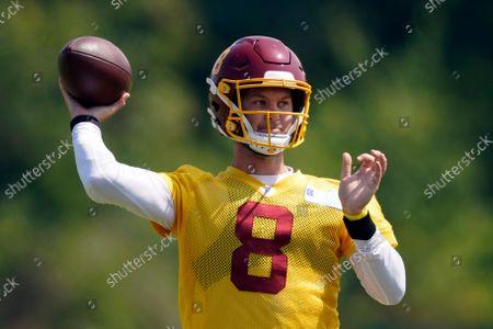 Washington Football Team quarterback Kyle Allen (8) throws during practice at the team's NFL football training facility in Ashburn, Va